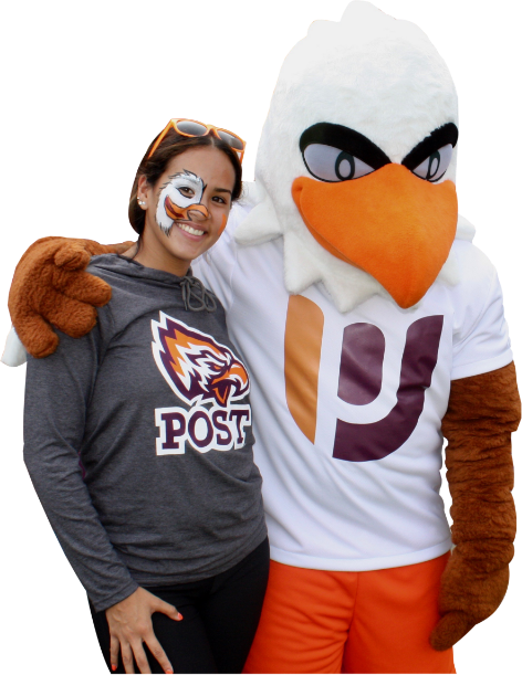 Post Hawk Mascot with Arm around Post Student